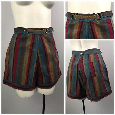 Vintage 1950s 1960s Bold Stripe High Waist Short Shorts with Cinch Waist M