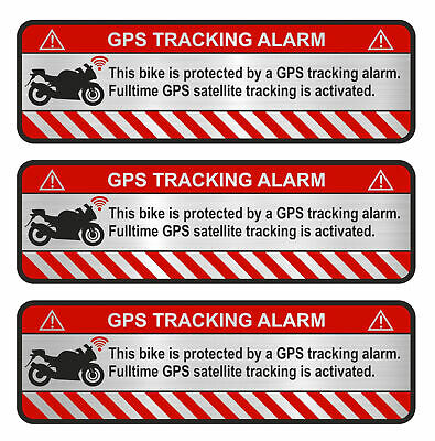 3x GPS Sticker Aluminum Grind Motorcycle anti Theft Sticker Tracker Protected