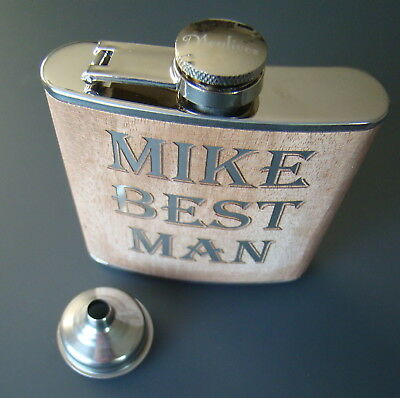 Custom Printed Engraved Stainless Steel Natural Oak Wrapped 6oz Liquor Flask