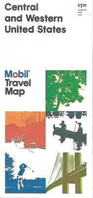 1985 MOBIL OIL Road Map CENTRAL & WESTERN UNITED STATES Chicago Los Angeles