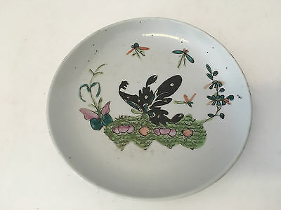 Antique Chinese Porcelain Plate w/ Butterfly & Floral Decoration Faded Mark