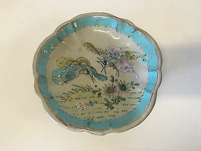 Antique Chinese Porcelain Tazza / Plate w/ Butterfly & Floral Decoration