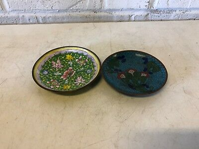 Vintage Chinese Cloisonne Pair of 2 Floral Decorative Saucers