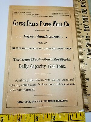 Old 1896 Ad Advertising Glen's Glens Falls Paper Mill Fort Edward New York NY