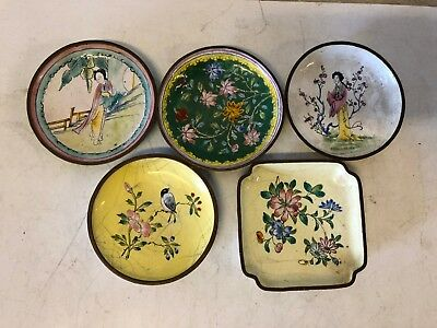 Vintage Lot of 5 Chinese Cloisonne Multicolored Hand Painted Decorative Saucers