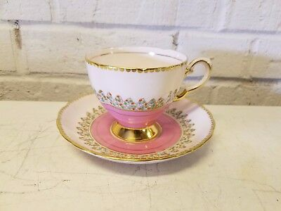 Tuscan Fine English Bone China Pink and Gold Dotted Cup and Saucer
