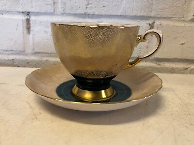 Vintage Tuscan Fine English Bone China Cup & Saucer with Green & Gold Dec