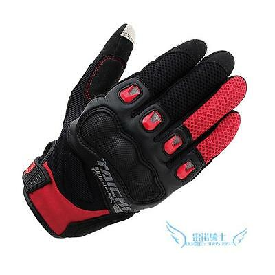 RS Taichi RST412 Men's Perforated Leather Black Red White Motorcycle Mesh Gloves