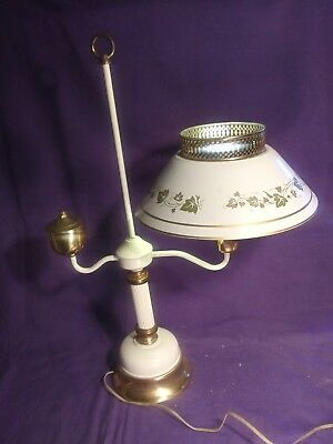 Vintage Heavy Brass Student Table Lamp W/White & Gold Tole Shade Electric. MCM