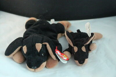 Ty Doberman Pincher Doby with Litter Puppy Beanie Babies Dog Mint with Mint Tags