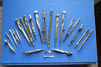 GROUP of 21 ANTIQUE DRAFTING TOOLS COMPASSES - Assorted Pieces & Parts