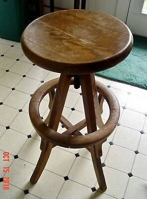 Arts & Crafts Antique Oak Swivel Seat Drafting Architects Stool