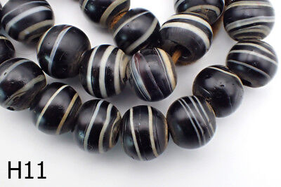 Antique Solomon Sulaimani Like Multilayer Agate Ball GLASS Bead Strand #H11