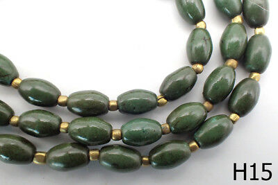 Old Bicone Natural Jade Carved Bead Afghanistan Rare Strand #H15