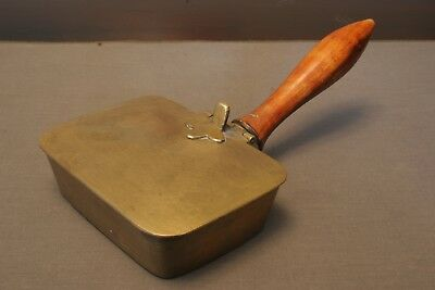 Vintage Solid Brass Butler's Ashtray With Wood Handle, Antique Patina, India
