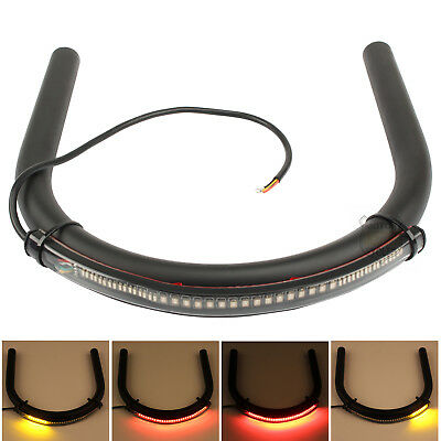 Cafe Racer 230mm Frame Hoop Brat Style Seat Loop CC CB With LED Turn Brake Light