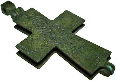 Large Byzantine Bronze Enkolpion Reliquary Cross
