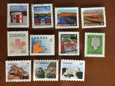 Canada definitive stamps , mixed collection used 11 different