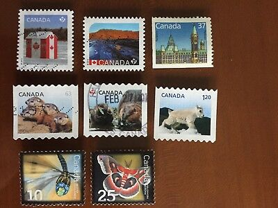 Canada definitive stamps mixed lot 8 different used