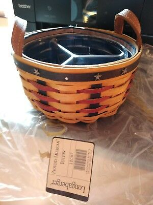 2004 Longaberger Proudly American Button Basket, Divided Protector, Liner Set LN