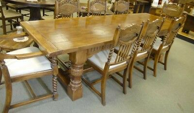 Oak Kitchen Table - Abbey Farmhouse Refectory Table Rustic Furniture