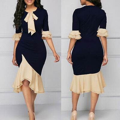 Womens Long Sleeve Midi Dress OL Bodycon Frill Evening Cocktail Party Dresses