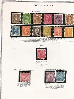 Scott 704-19  US Stamps Lt Hinged & Unhinged All Uncancelled