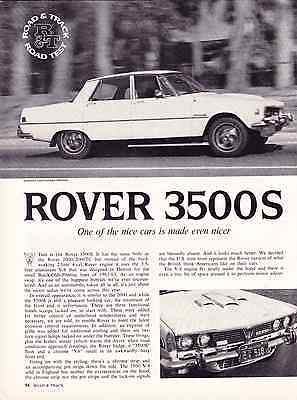 1969 Rover 3500S  ~  Nice Original 4-Page Road Test / Article / Ad
