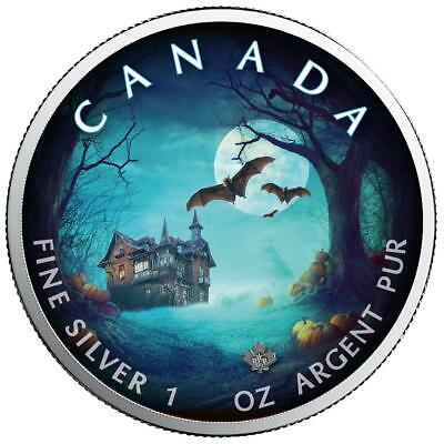 Kanada - 5 Dollar 2018 - Maple Leaf - Halloween (1.) - 1 Oz Silber in Farbe ST
