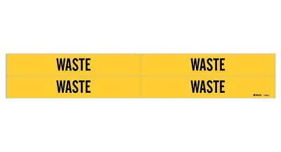 Brady 7298-4, 79735 Yellow Vinyl Stickers Pipe Marker, WASTE, Pack of 50