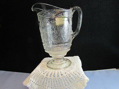 "EAPG Early American Pattern Glass Willow Oak Small Pitcher 1880s 7 3/4"" Tall"