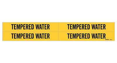 Brady 7283-4, 36213 Yellow Vinyl Stickers Pipe Marker TEMPERED WATER, Pack of 50