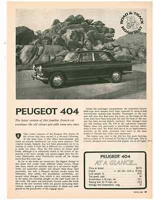 1965 Peugeot 404  ~  Great Original 3-Page Road Test / Article / Ad