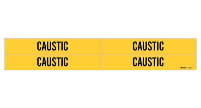 Brady 7040-4, 79216 Yellow Vinyl Stickers Pipe Marker CAUSTIC