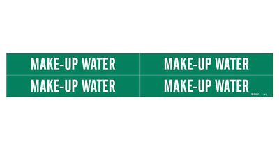 Brady 7182-4, 79338 Green Vinyl Stickers Pipe Marker MAKE-UP WATER- 50 Pack