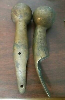 2 Old Antique  Brass Horse Collar Hame Knob  Walking Stick Handles