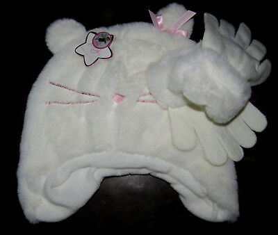 TOBY NEW faux fur lined kitty hat & gloves set girls' one size 4 5 6 6X NWT