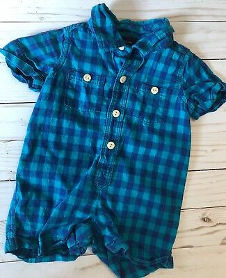 Baby Boy Newborn Outfit Polo {Baby GAP} One Piece Outfit Stripes 0-3 Months Blue