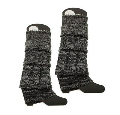 Gray Footless Leg Warmers Over The Knee Warm Socks Stretchy Cable Knitted