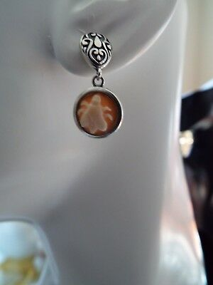 Bee Cameo Dangle Earrings set into sterling silver