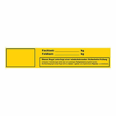 10x Fachlast/Feldlast Sticker Safety with Schutzlaminat Shelf Heavy Duty