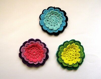 Set of 3 X BEAUTIFUL CROCHET FLOWERS - IN VARIOUS COLORS. FREE POSTAGE.