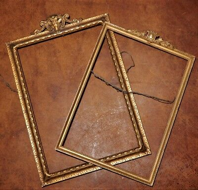 Vintage Edwardian FRENCH Style Delicate Dark GOLD Pair of Picture Frames c1910s