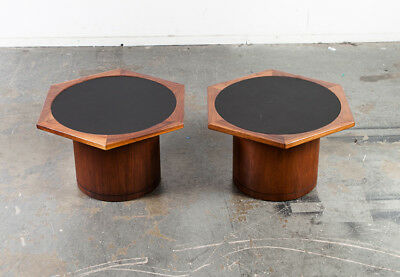Mid Century Modern Side tables End Nightstand Round RS Associates Vintage Danish
