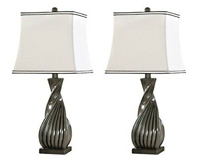Kings Brand Grain Gray White Fabric Shade Table Lamps, Set of 2