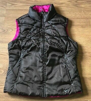 Nike Women's Reversible Duck Down Vest Quilted Brown Pink Size S Small 4-6