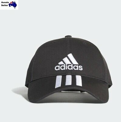 New Adidas 6 Panel Classic 3 Stripe Blk Baseball Cap Hat Adjustable OFSM S98156