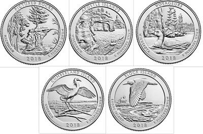 2018 American the Beautiful National Parks Quarter Set (10 coins) BU **IN HAND**