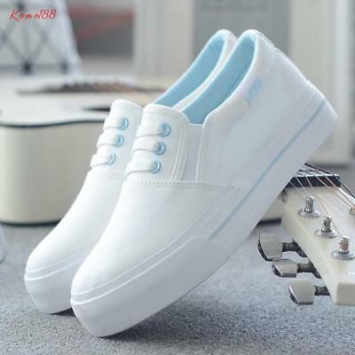 Womens low top flat Slip on Loafers Casual Comfy Student Canvas Sneakers Shoes