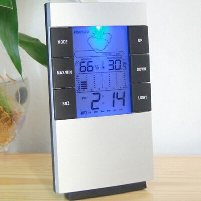 LCD Humidity Temperature Meter Hygrometer Room Indoor Thermometer Clock B8V0H